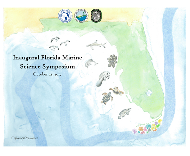 Watercolor of Florida and Gulf Stream with images of sea life